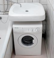 Установка стиральной машины под раковину.